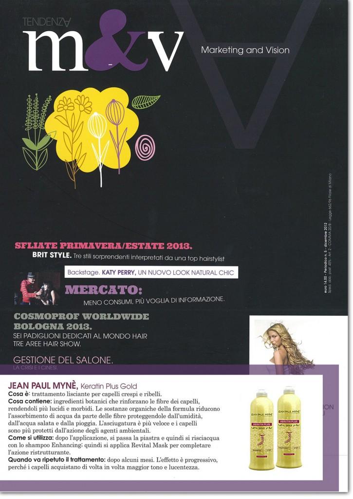 M&V - il trattamento lisciante per capelli keratin plus gold